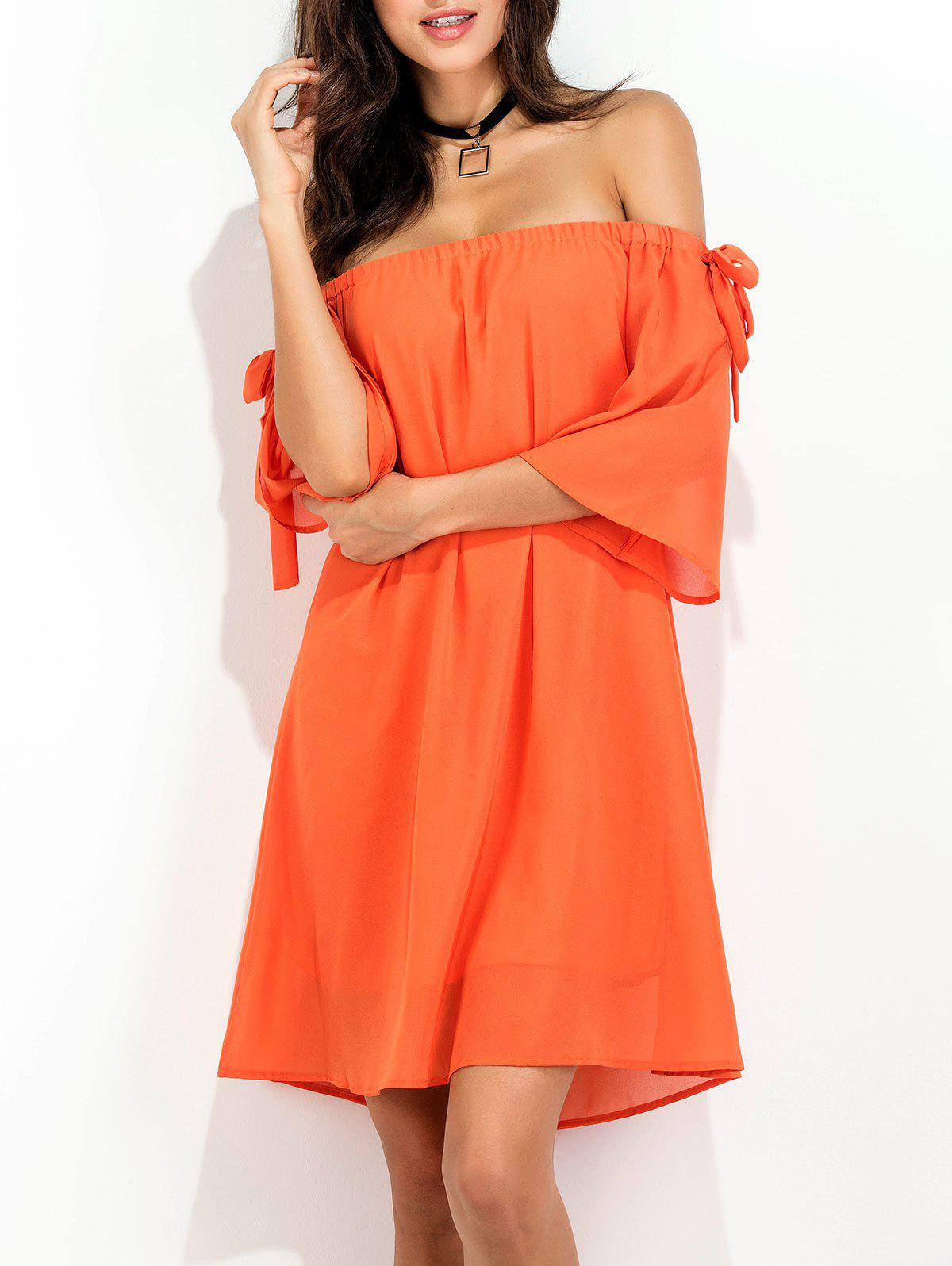 Off The Shoulder Bowknot Short Chiffon Dress - ORANGE RED L