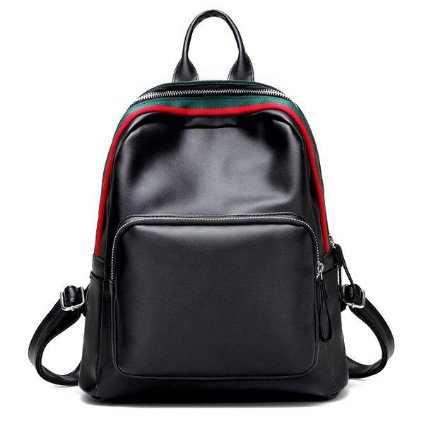 Zip Front Pocket Faux Leather Backpack