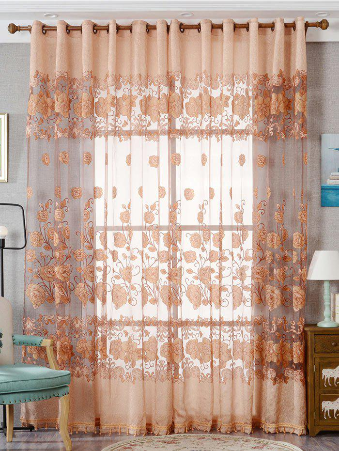 Window Screen Sheer Flower Tulle Curtain For Living Room - KHAKI W39 INCH*L98 INCH