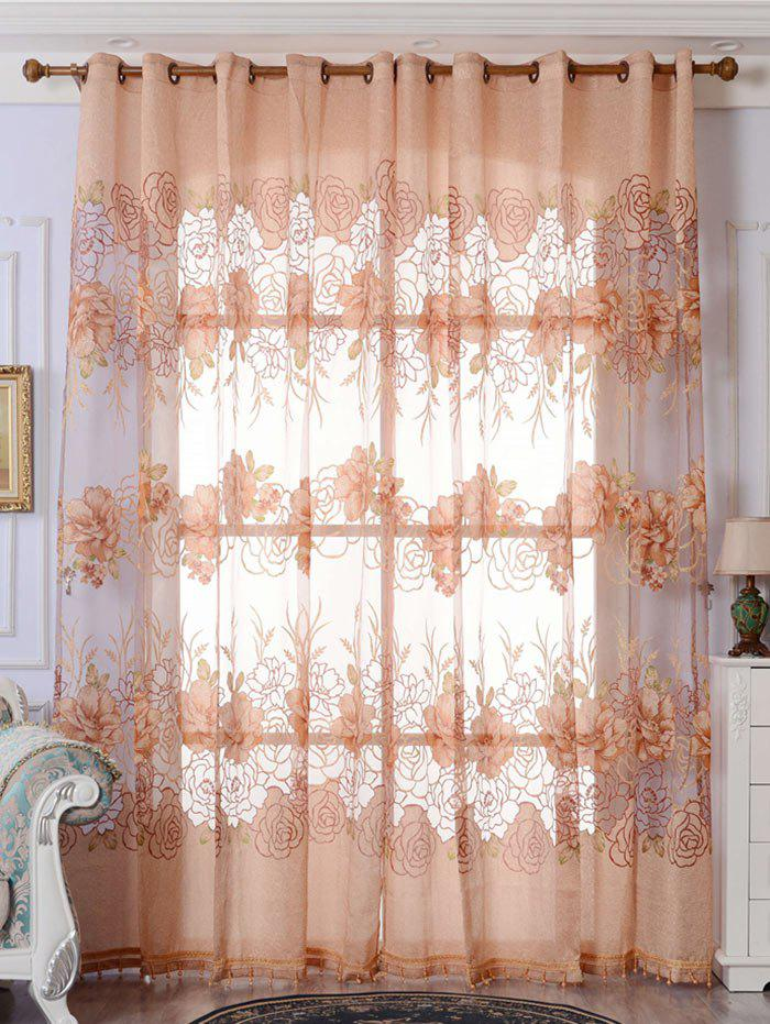 Flower Embroidered Sheer Window Tulle For Living Room - LIGHT BROWN W39 INCH*L98 INCH