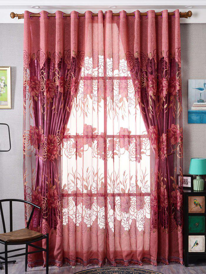 Flower Embroidered Sheer Window Tulle For Living Room - BRICK RED W39 INCH*L79 INCH