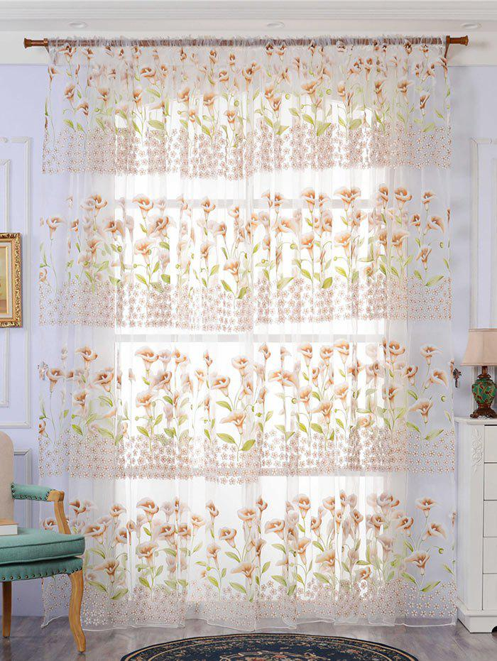 Calla Lily Embroidery Sheer Window Decor Tulle Curtain roman rose embroidery sheer screening tull curtain