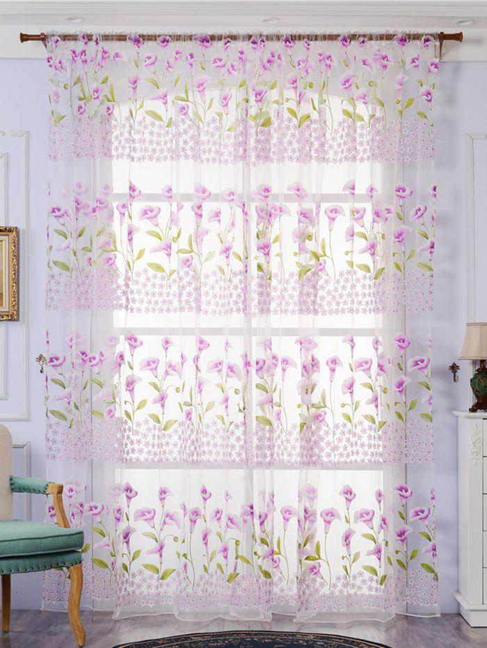 Calla Lily broderie Fenêtre Sheer Decor Tulle rideau - Violet Clair W59 INCH*L79 INCH