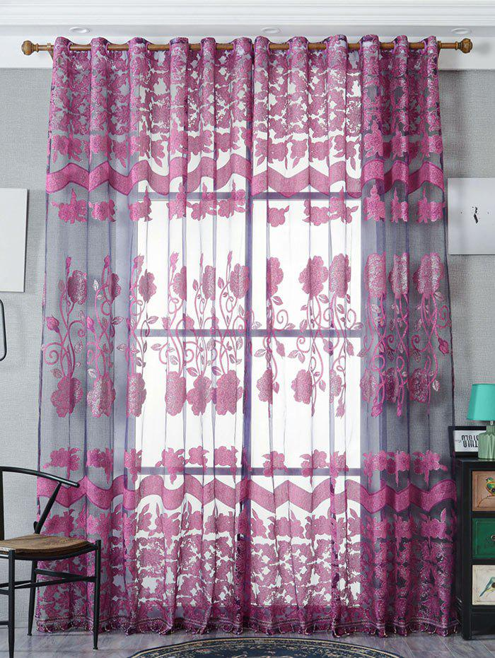 Jacquard Window Sheer Tulle Curtain For Living Room - VIOLET W39 INCH*L98 INCH