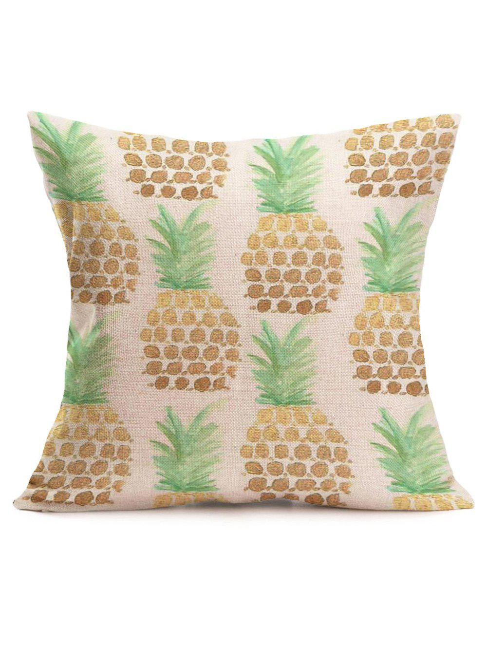 Pineapple Linen Sofa Throw Pillow Case handpainted pineapple and fern printed pillow case