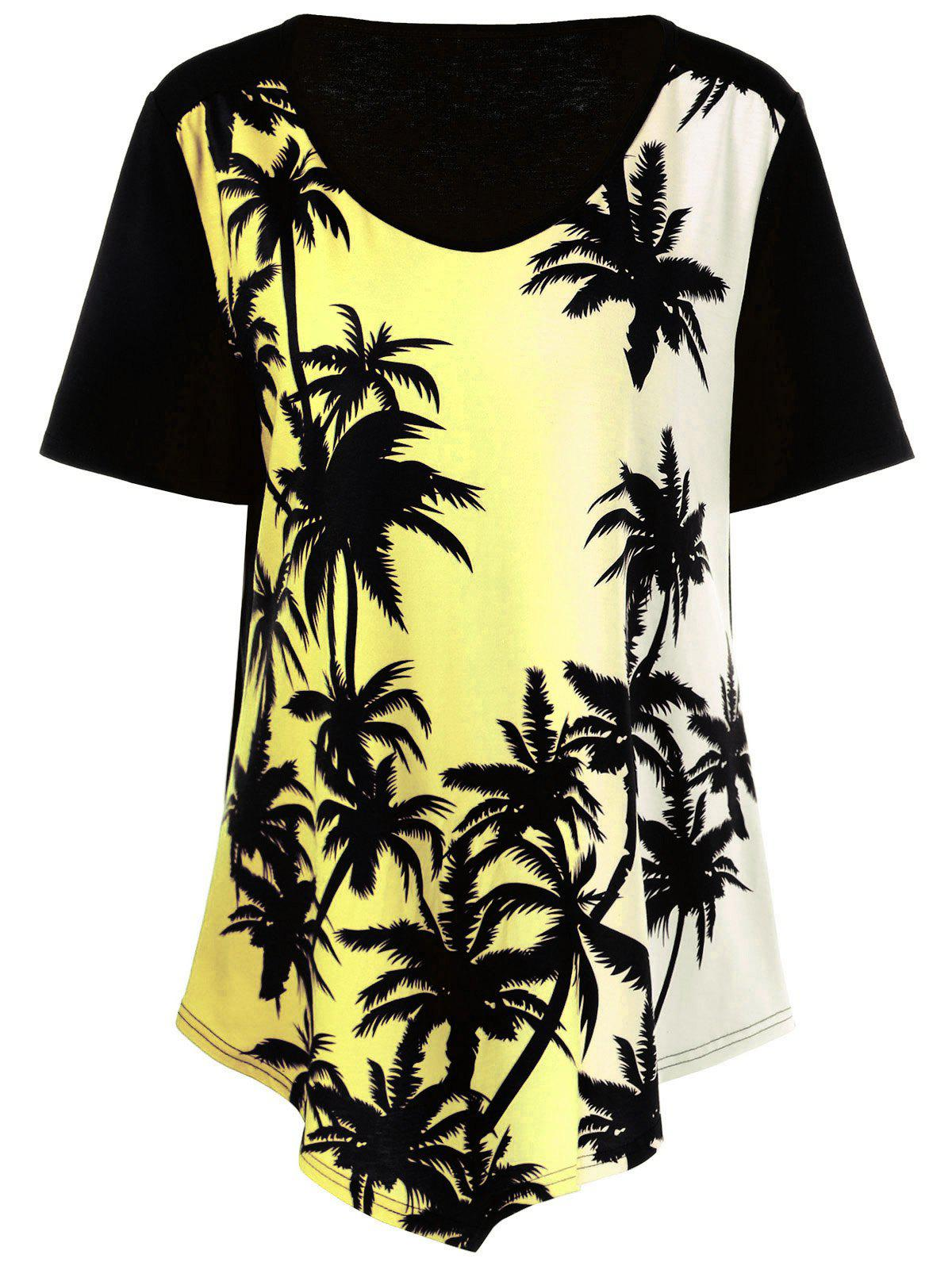 Plus Size Plant Print Ombre Asymmetrical T-Shirt - YELLOW 3XL