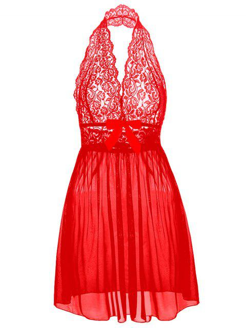 Halter Lace Plus Size Babydoll - RED 4XL