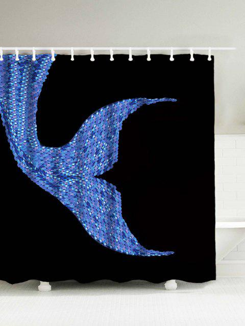 Mermaid Sequins Waterproof Polyester Shower Curtain With Hooks   BLACK  180*200CM