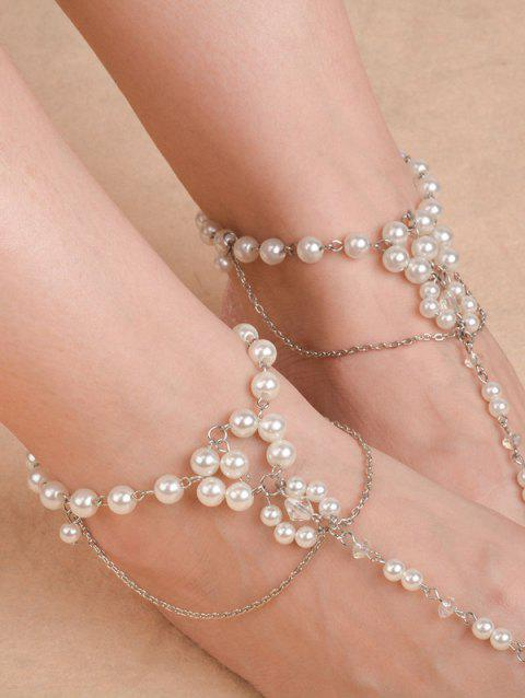 Artificial Pearl Chain Beaded Anklets - SILVER
