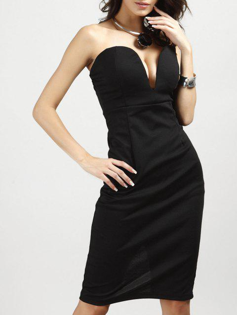 Strapless Low-Cut Padded Bodycon Dress - BLACK S