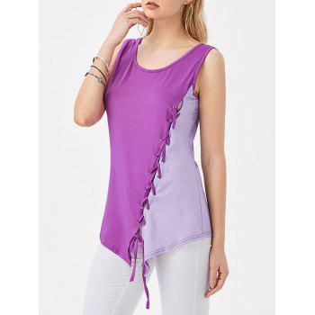 Asymmetrical Contrast Lace Up Tank Top