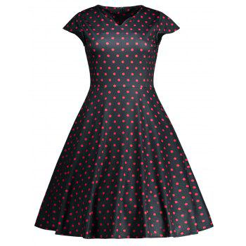 Vintage High Waist Polka Dot Flare Dress