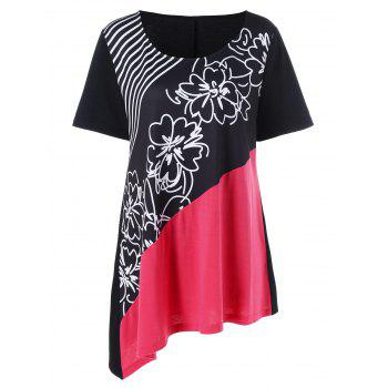 Plus Size Floral and Striped Asymmetrical T-Shirt