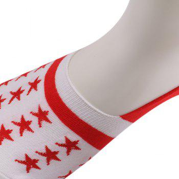 Stars Embellished Knit Loafer Socks -  RED/WHITE