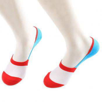 Skidproof Color Block Sperry Socks - RED AND WHITE RED/WHITE