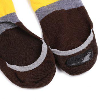 Skidproof Color Block Sperry Socks - COFFEE/YELLOW