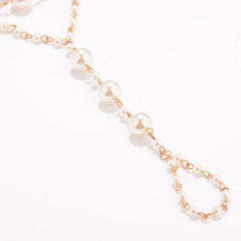 Faux Pearl Beaded Anklet -  GOLDEN