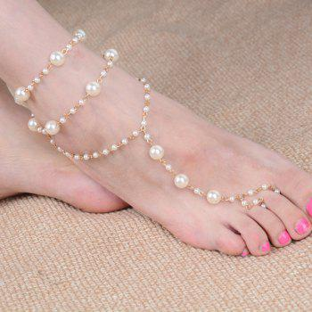 Faux Pearl Beaded Anklet - GOLDEN GOLDEN