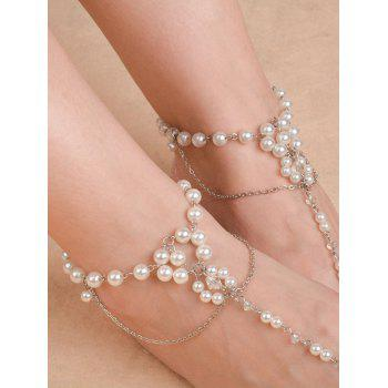 Artificial Pearl Chain Beaded Anklets - SILVER SILVER