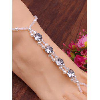Rhinestone Artificial Pearl Elastic Anklet