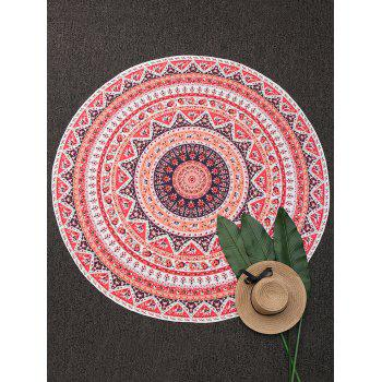 Colorful Print Round Beach Throw Cover