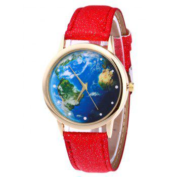 World Map Faux Leather Watch