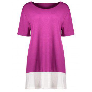 Plus Size Colorblock Mini A Line T-Shirt Dress - ROSE RED 4XL