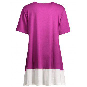 Plus Size Colorblock Mini A Line T-Shirt Dress - 4XL 4XL