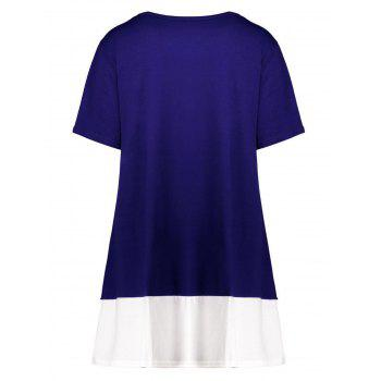 Plus Size Colorblock Mini A Line T-Shirt Dress - BLUE BLUE