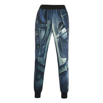 Beam Feet 3D Machinery Print Jogger Pants