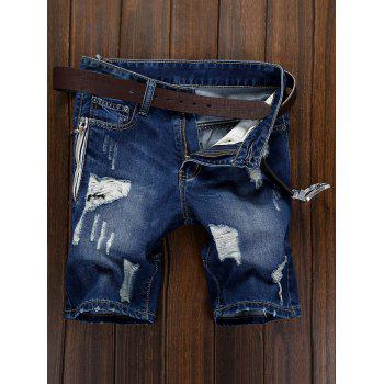 Ripped Zipper Design Denim Shorts