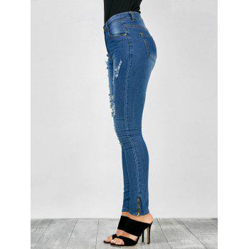 Distressed Zip Hem High Rise Jeans - L L