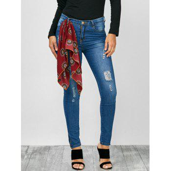 Distressed Zip Hem High Rise Jeans - BLUE L