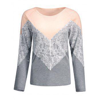 Lace Trim Color Block Long Sleeve Tee
