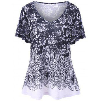Plus Size Floral and Paisley T-Shirt