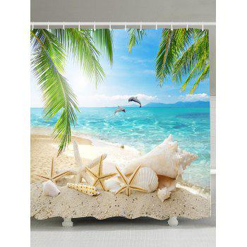 Beach Scenery Mildew Resistant Fabric Shower Curtain