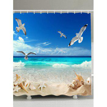 Beach View Print Fabric Shower Curtain with Hooks