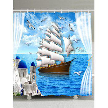 Ocean View Polyester Fabric Shower Curtain