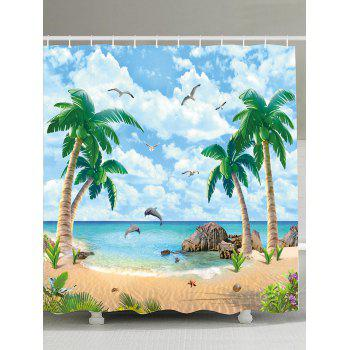 Beach Palm Tree Waterproof Anti-bacteria Shower Curtain