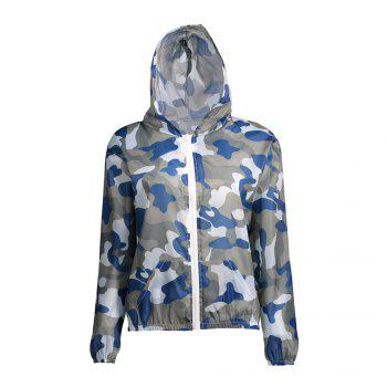 Hooded Camouflage Sun Protection Skin Windbreaker - BLUE ONE SIZE