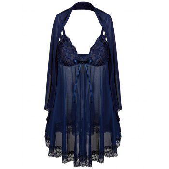 See Through Plus Size Babydoll avec écharpe