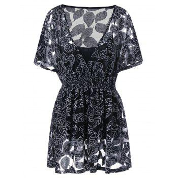Plus Size Leaf Pattern Blouse with Camisole