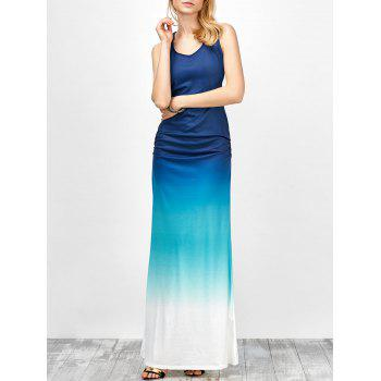 Ombre Fitted Ruched Maxi Tank Dress