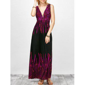 Empire Waist Plunging Neck Peacock Feather Print Dress