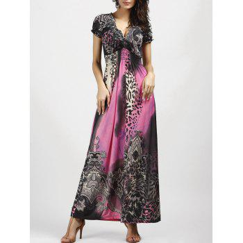 V Neck Leopard Printed Bohemian Maxi Dress
