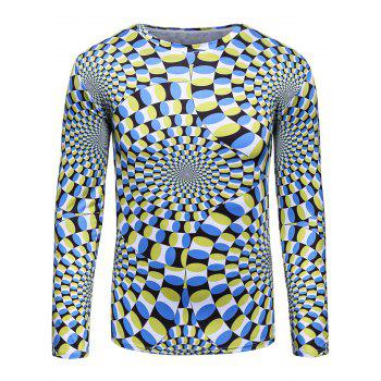 Long Sleeve 3D Color Block Spiral Trippy T-Shirt