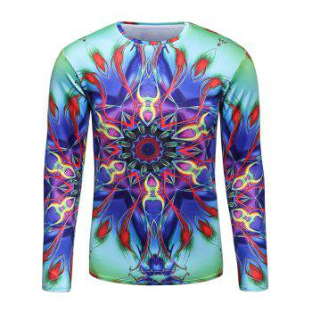 3D Trippy Colorful Abstract Floral Print T-Shirt