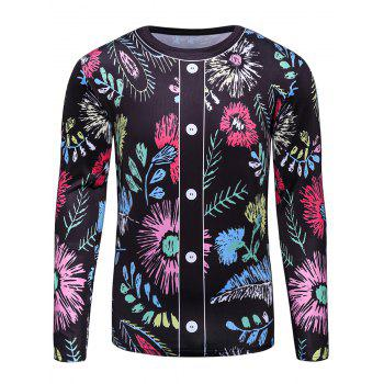 3D Button and Floral Print T-Shirt
