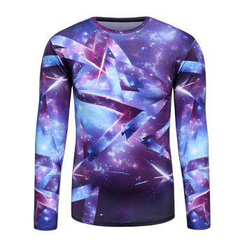 Long Sleeve 3D Geometric Trippy Galaxy T-Shirt