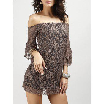 Off Shoulder Lace Party Dress With Sleeves